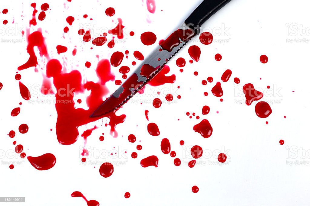 Blood stains isolated on white background stock photo