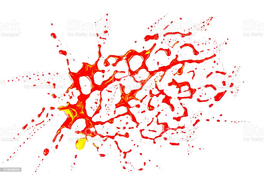 Blood stains (puddle) isolated on white background.Paint color d stock photo