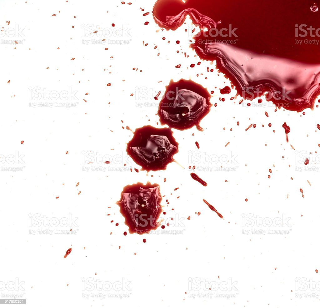 Blood stains on white background stock photo