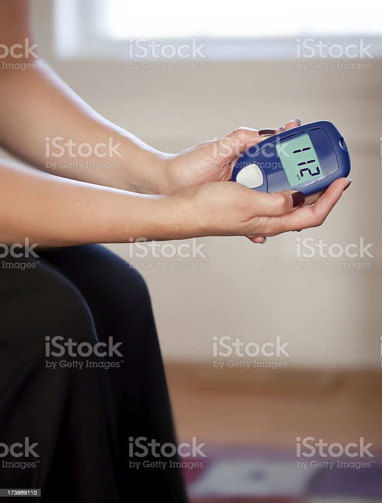 Blood Sugar Test at home stock photo