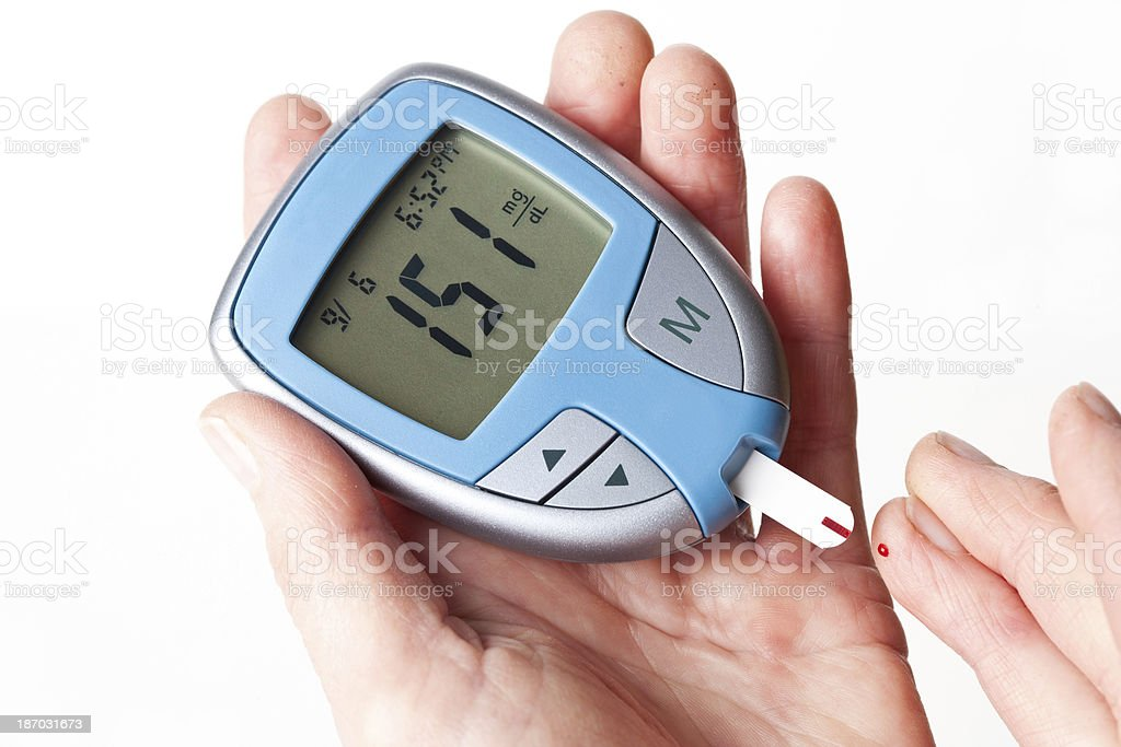 Blood Sugar Test with Glucometer royalty-free stock photo