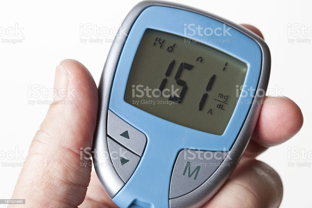 Blood Sugar Test with Glucometer stock photo