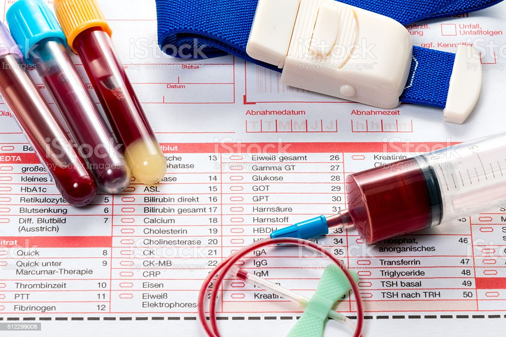 Blood test, blood samples on a laboratory form stock photo