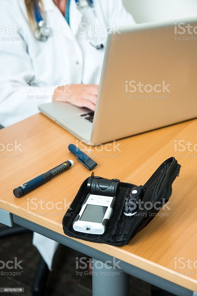Blood testing devices for monitoring diabetes stock photo