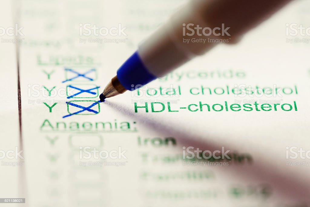 Blood tests for Cholesterol levels ordered on medical form stock photo