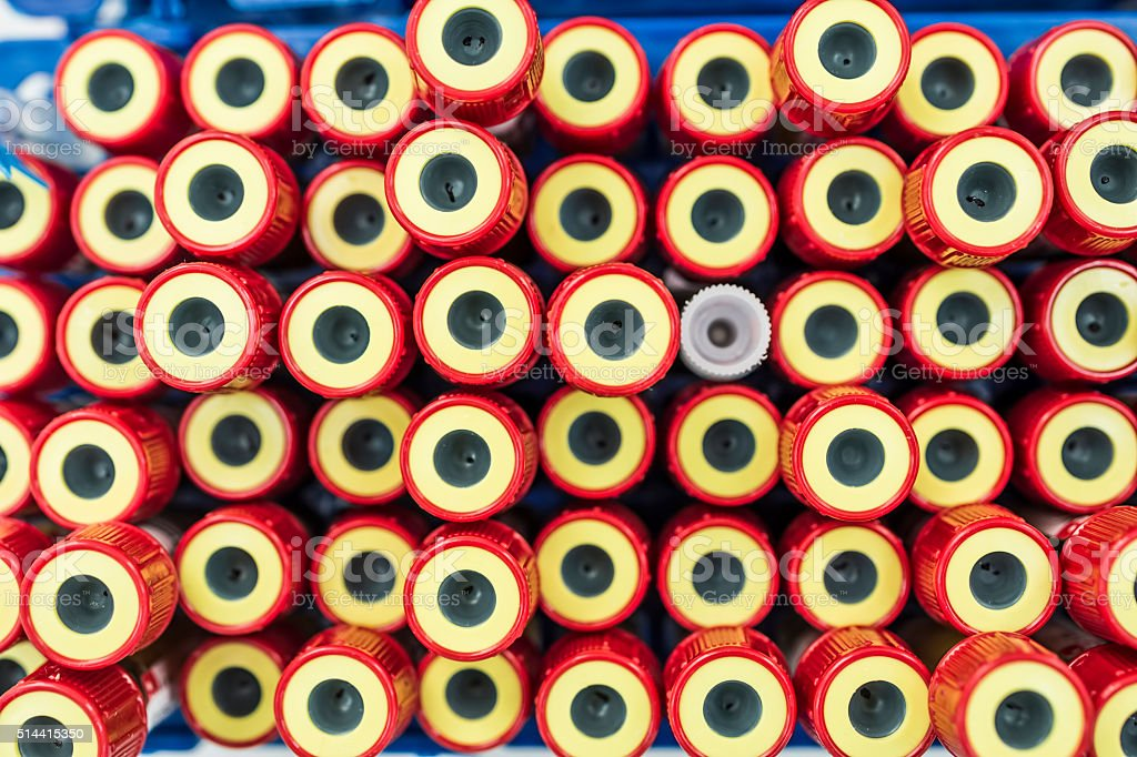 Blood tube for testing in laboratory stock photo