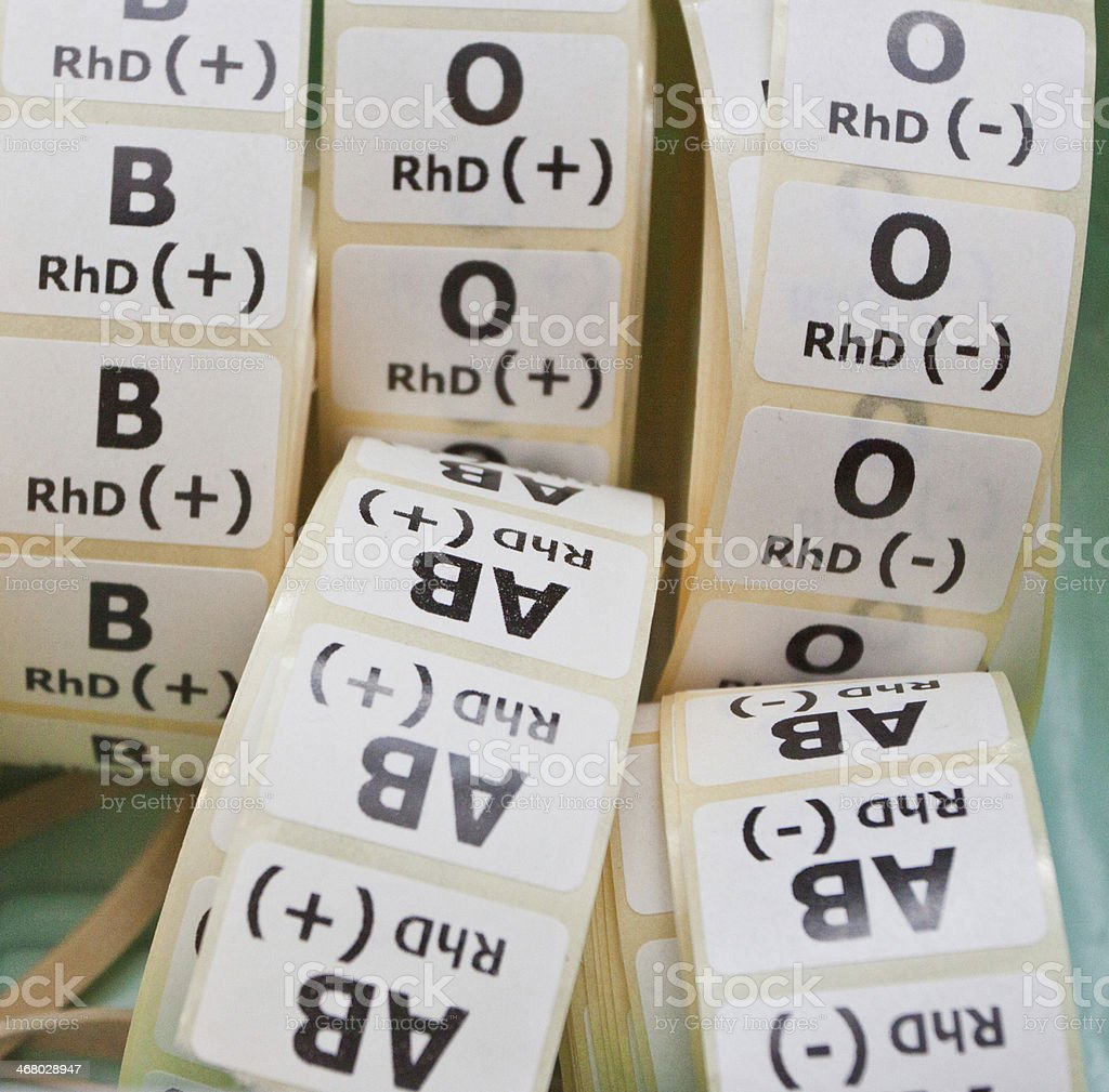 Blood type lables stock photo