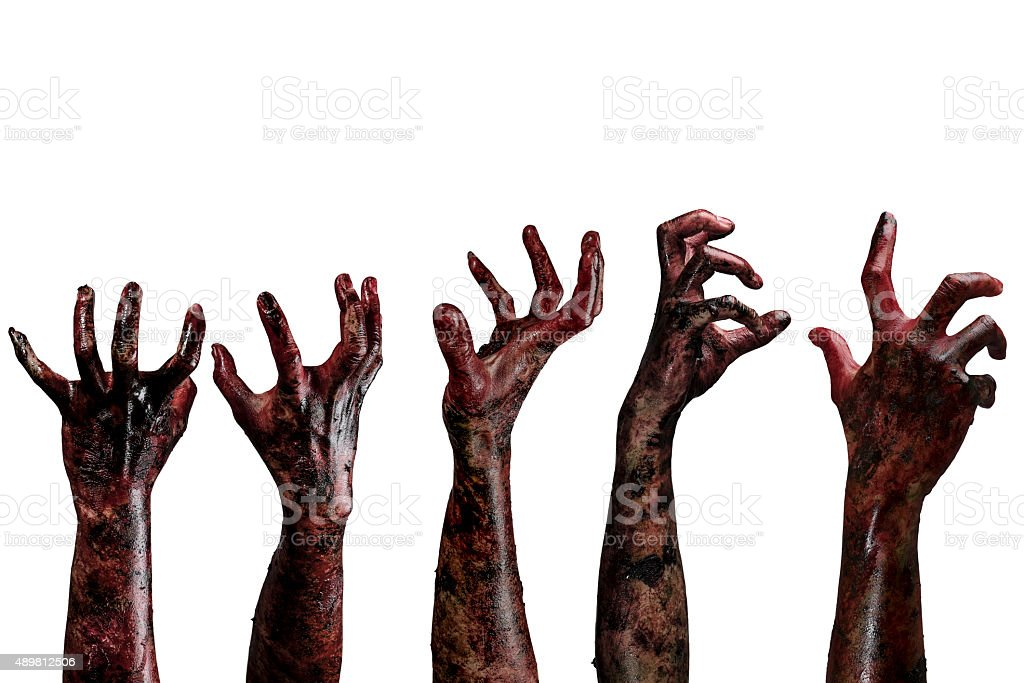 Blood  zombie hands,  zombie theme, halloween theme stock photo