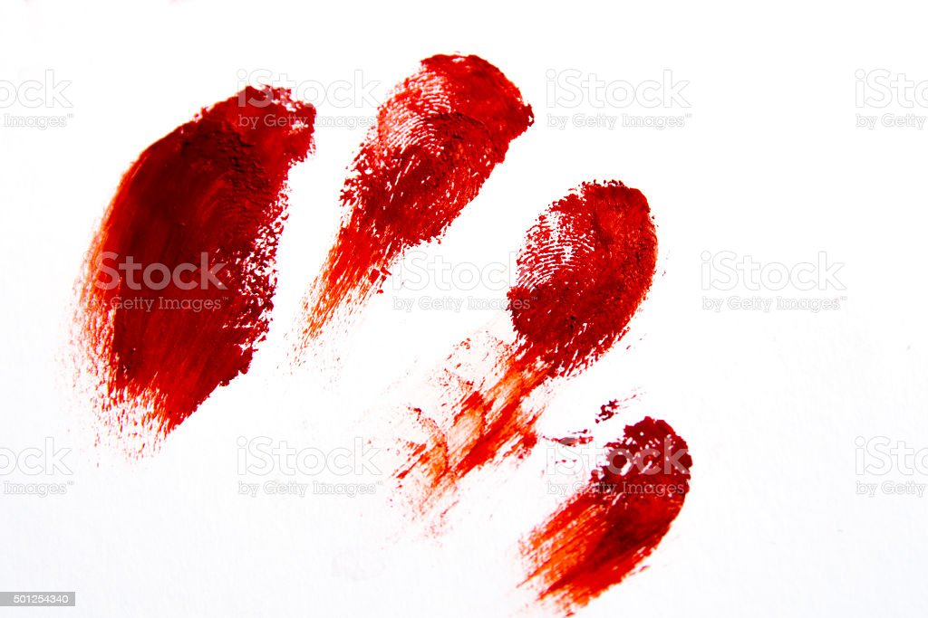 Bloodly red finger prints stock photo