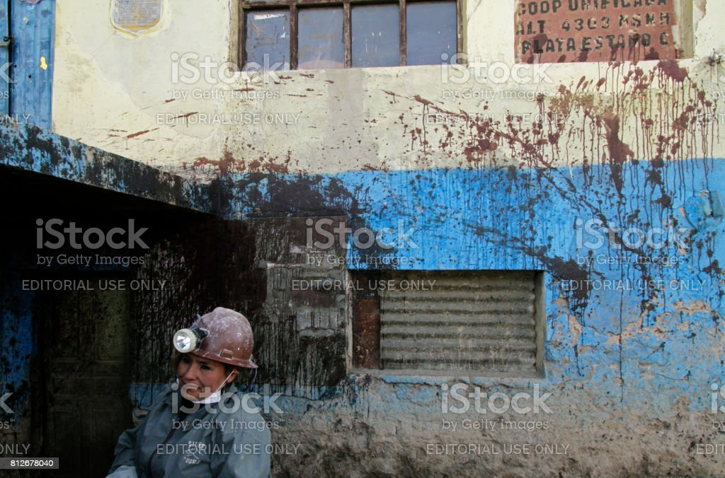Blood-stained mine entry in Potosi, Bolivia stock photo