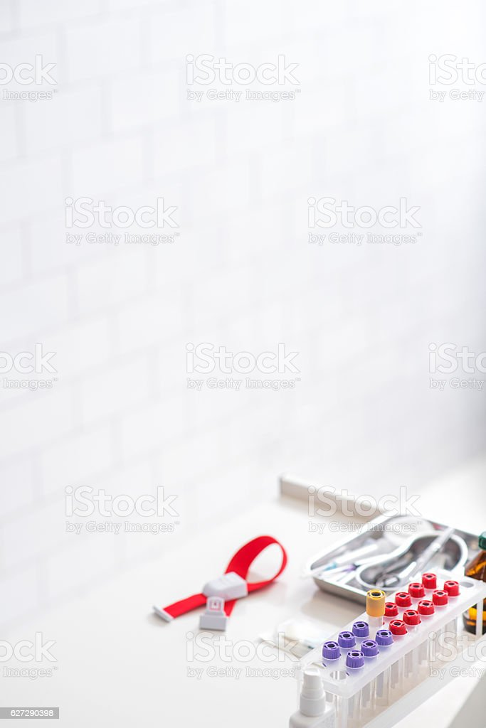 Blood-test set in hospital stock photo