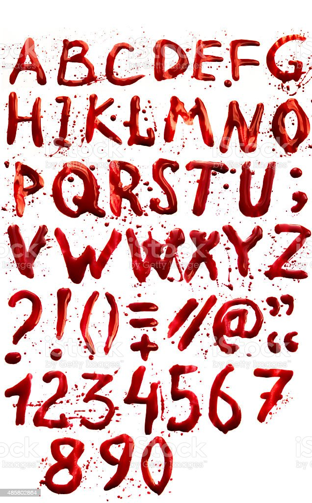Bloody alphabet (font) stock photo
