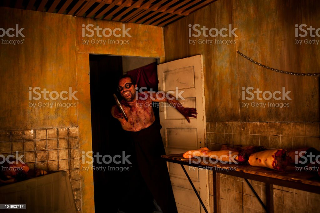 Bloody Butcher in Halloween Haunted House, Copy Space royalty-free stock photo