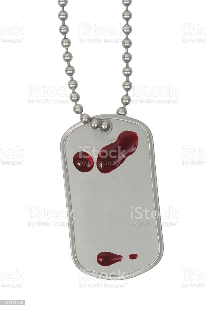 Bloody dog tag royalty-free stock photo