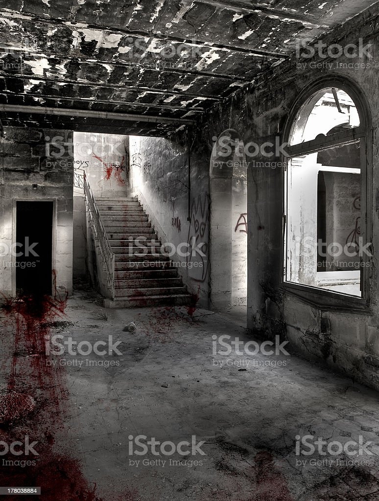 Bloody drag marks across hallway stock photo