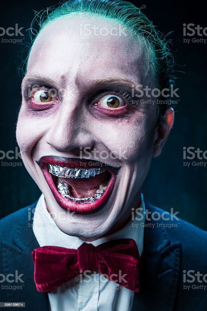 Bloody Halloween theme: crazy face stock photo