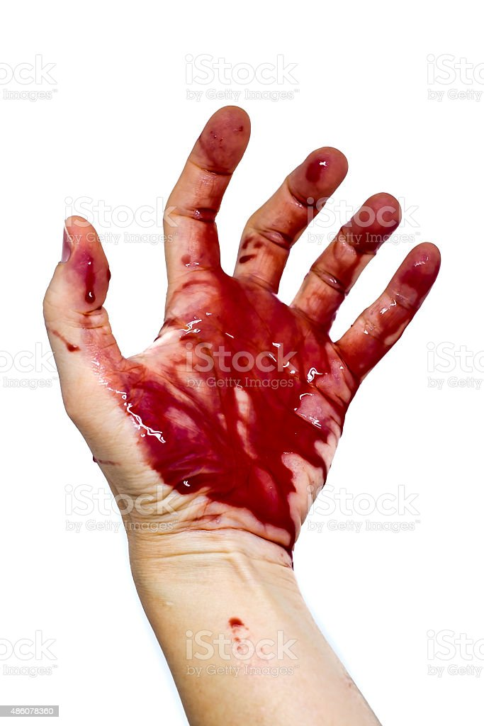 Bloody Hand isolated on a white background stock photo