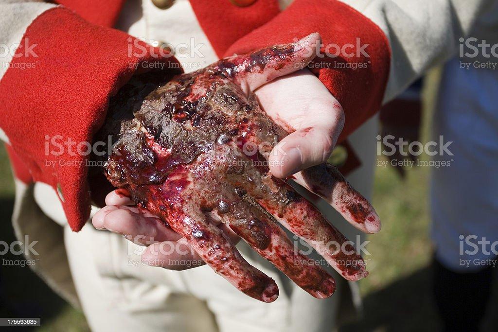 bloody hand (makeup) stock photo