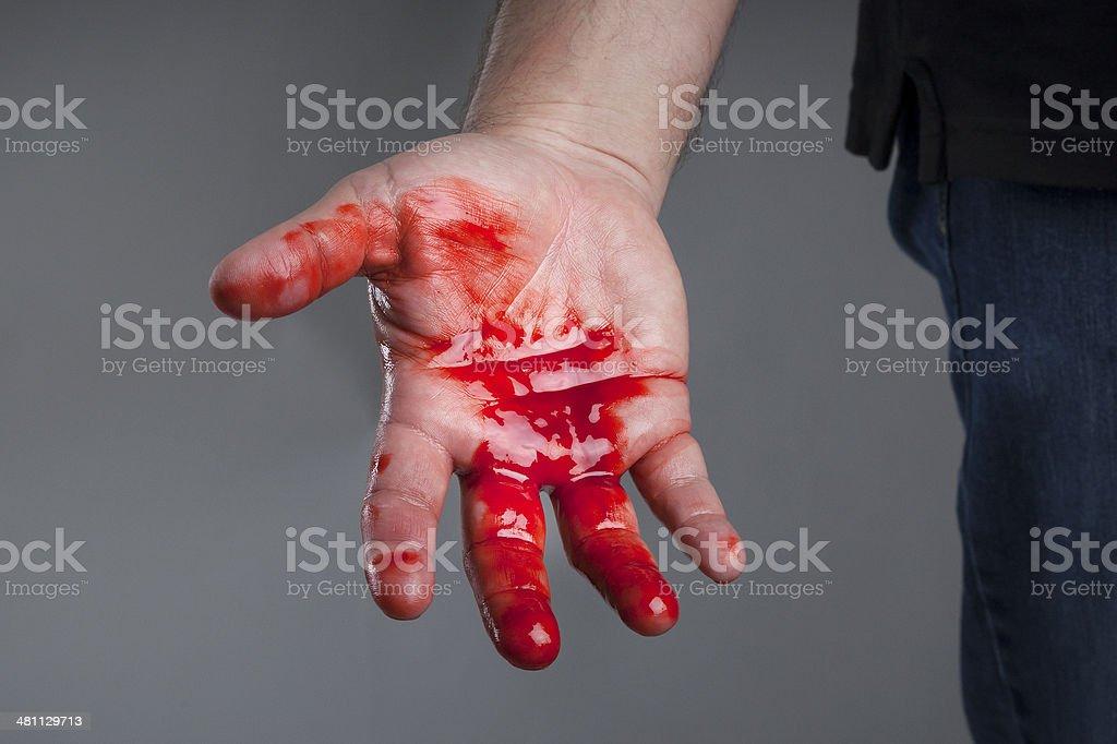 Bloody hand stock photo