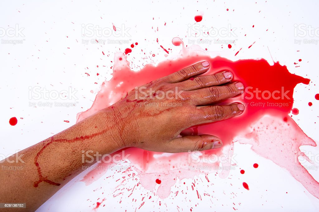 Bloody hand smearing red blood on white background.Murder concept stock photo