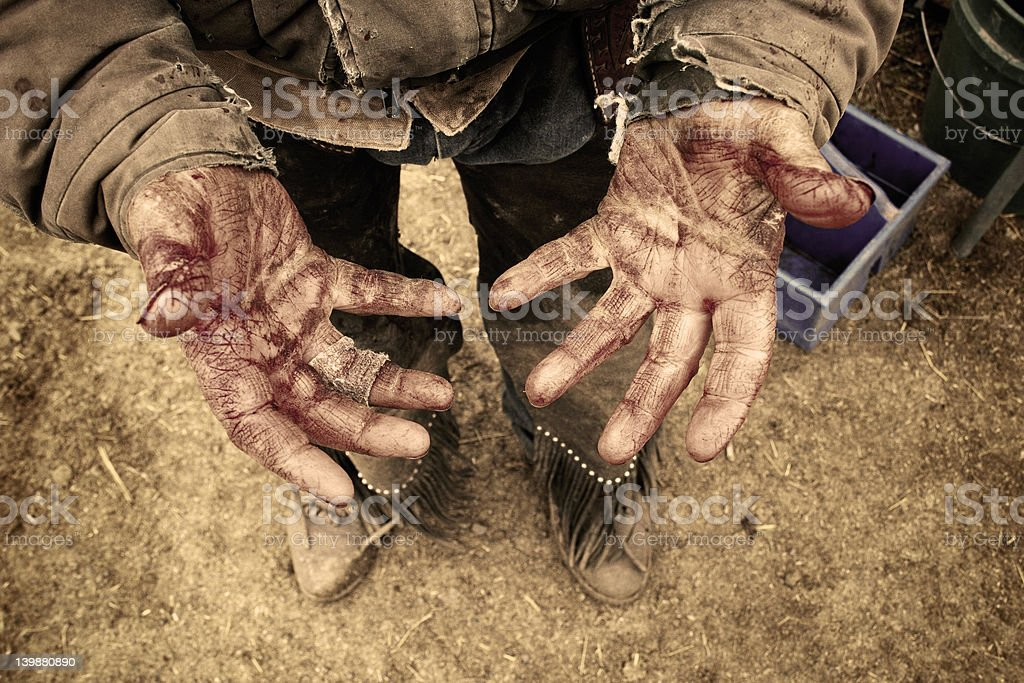 Bloody Hands-Sepia royalty-free stock photo