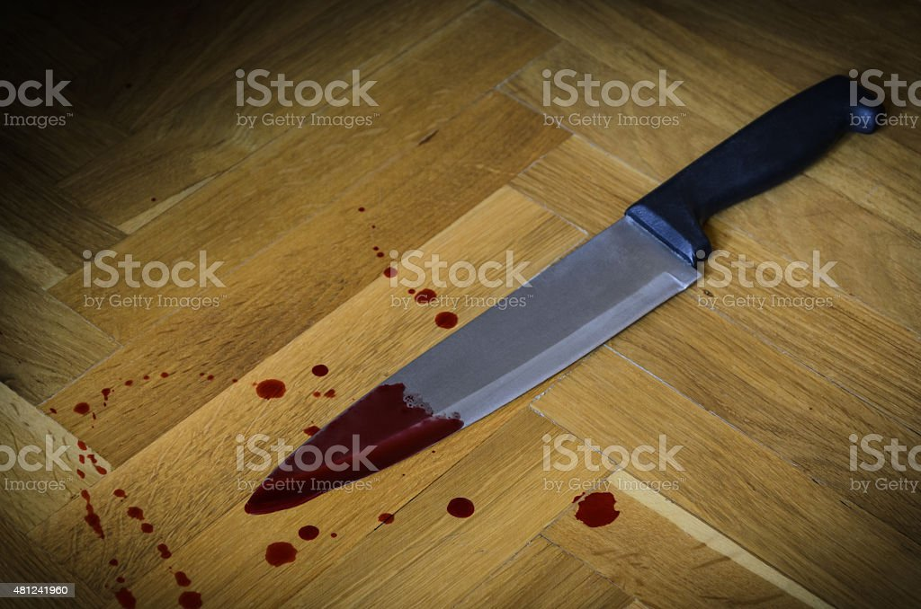 Bloody knife, Concept photo of murder and crime stock photo