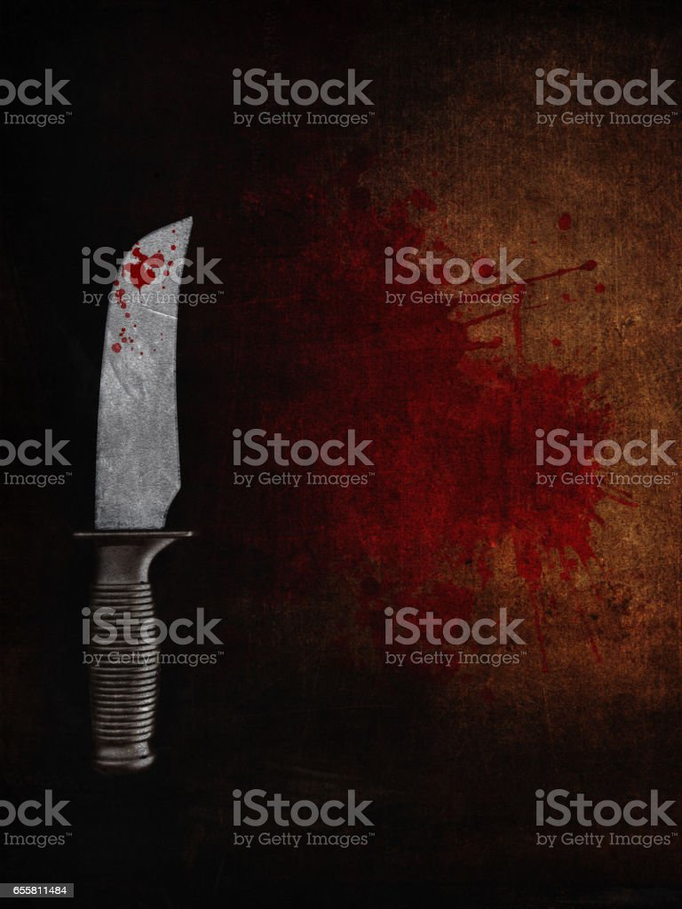 3D bloody knife on a bloodstained grunge background vector art illustration