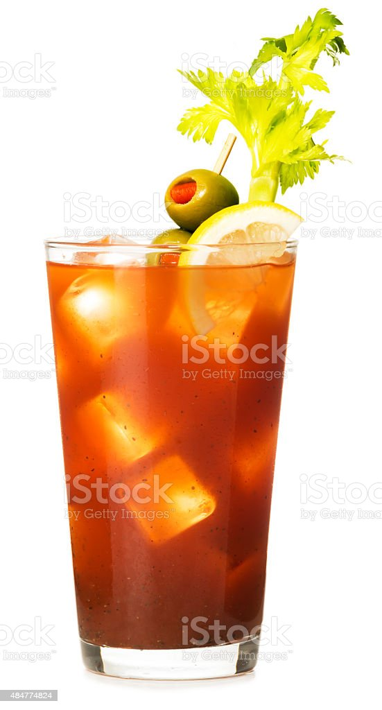Bloody Mary Cocktail on White stock photo