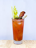 Bloody Mary with Celery, Pickled Cucumber and Bacon