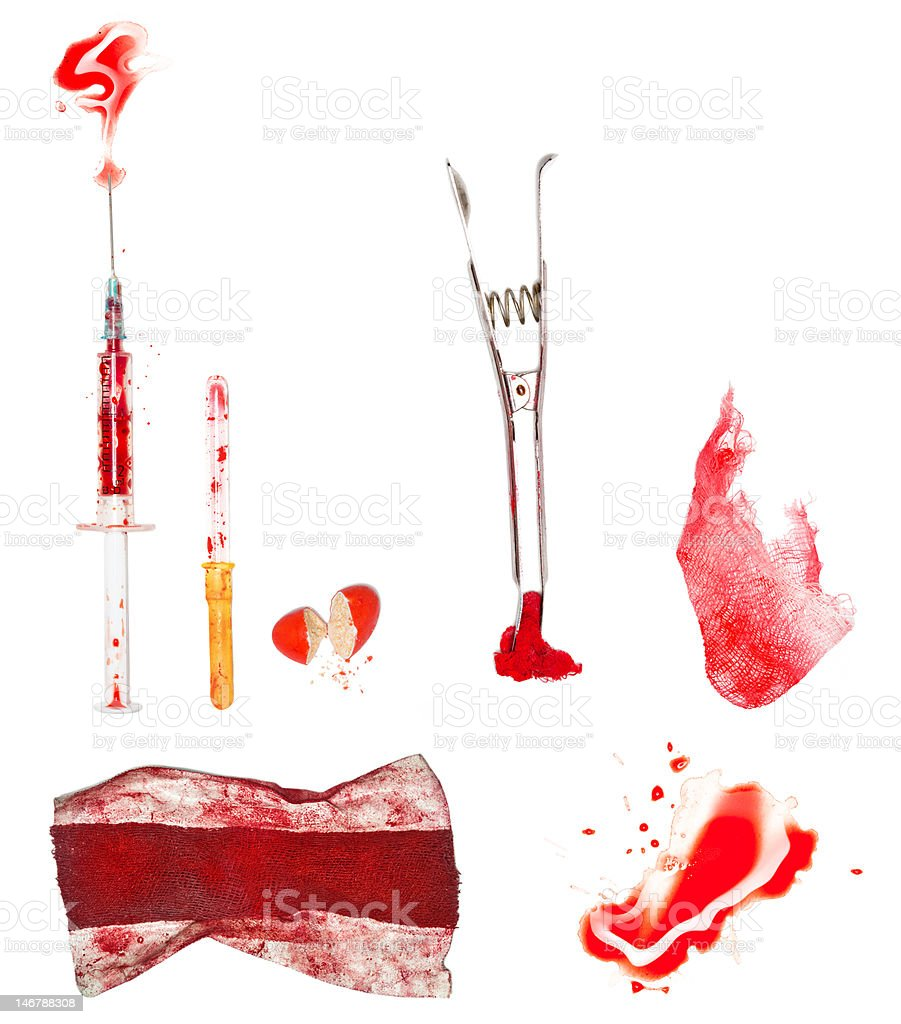 Bloody medicine set (isolated with clipping paths) royalty-free stock photo