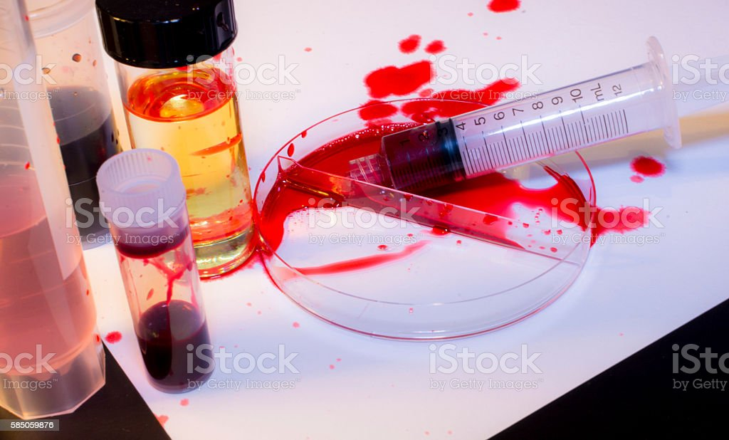 Bloody Mess - Laboratory Accident stock photo