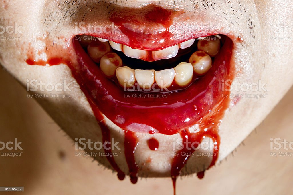 Bloody mouth stock photo