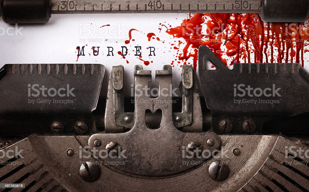 Bloody note - Vintage inscription made by old typewriter stock photo