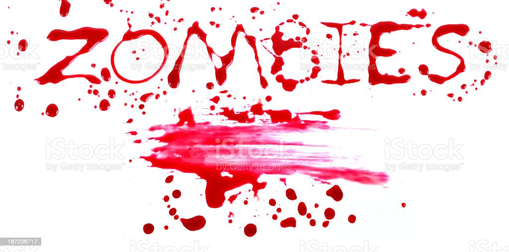 Bloody print on a white background with the letters ZOMBIES royalty-free stock photo