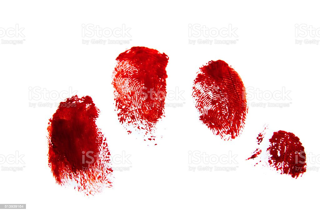 Bloody red finger prints stock photo