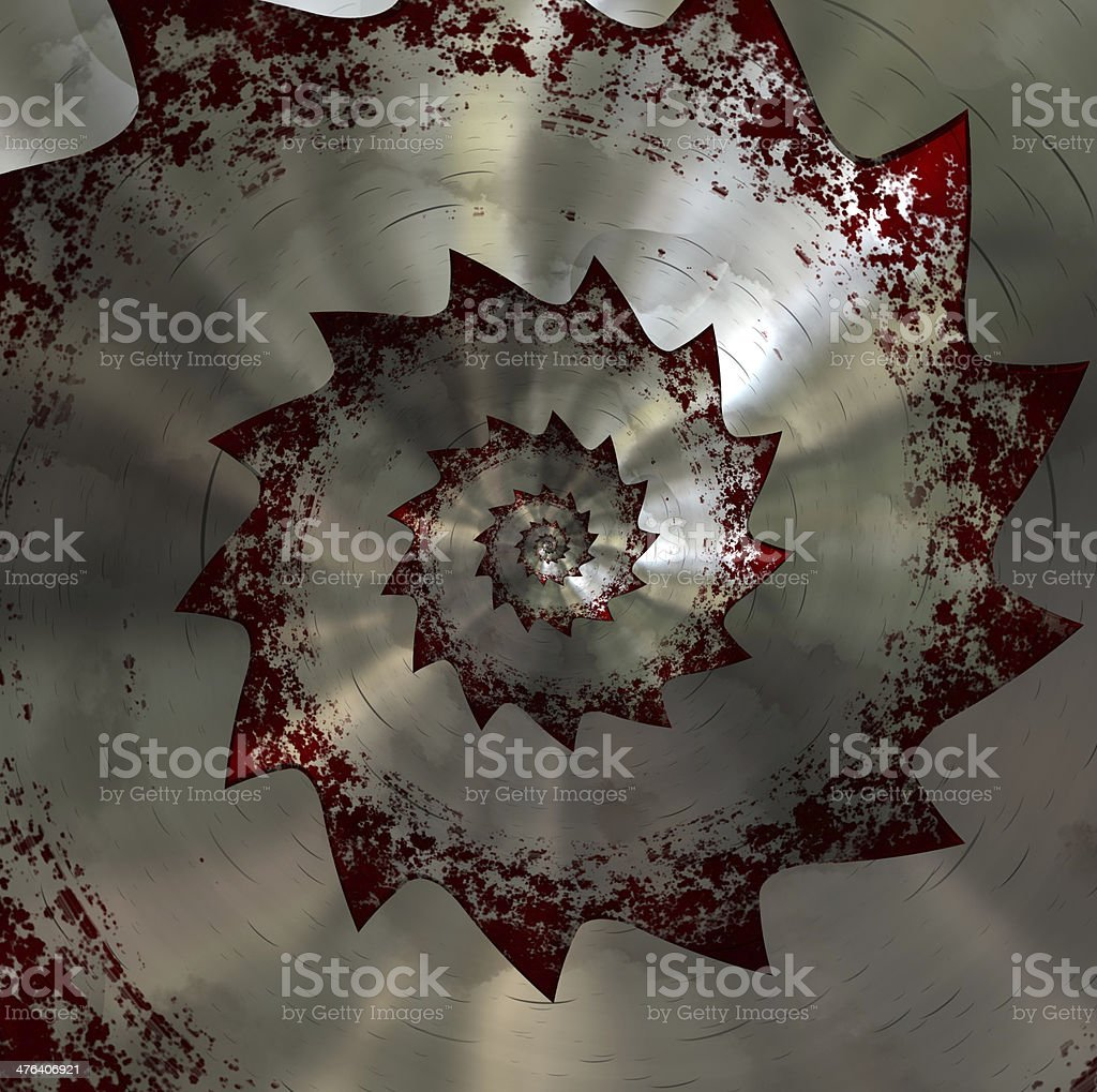 Bloody saw blade. Spiral pattern royalty-free stock photo