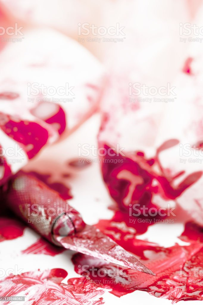 Bloody scalpel stock photo