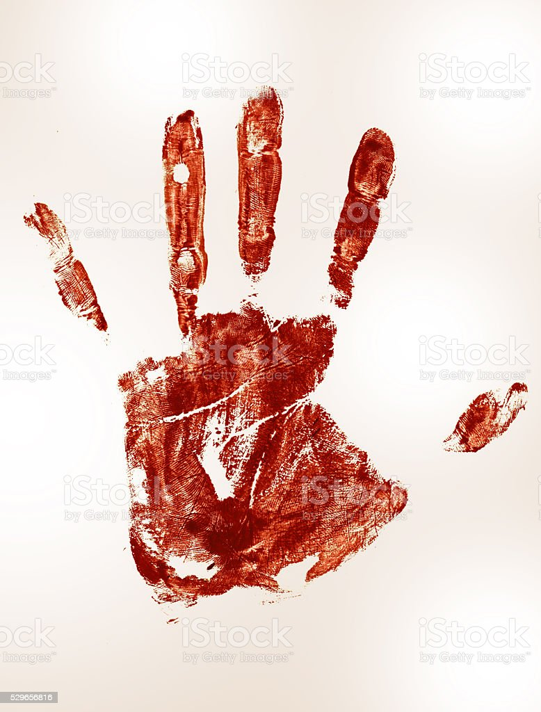 bloody Trail of a human hand stock photo