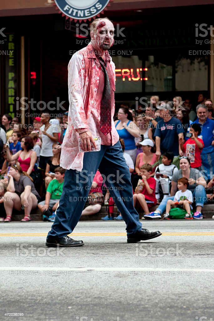 Bloody Zombie Doctor Walks In Atlanta Dragon Con Parade stock photo