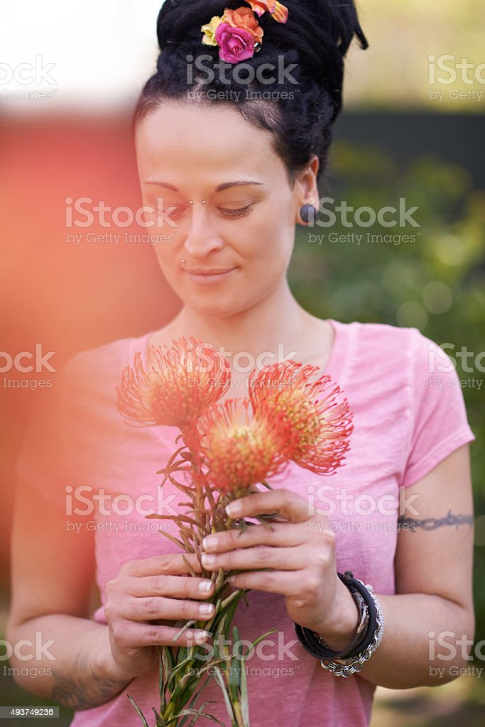 Bloom where you are planted stock photo