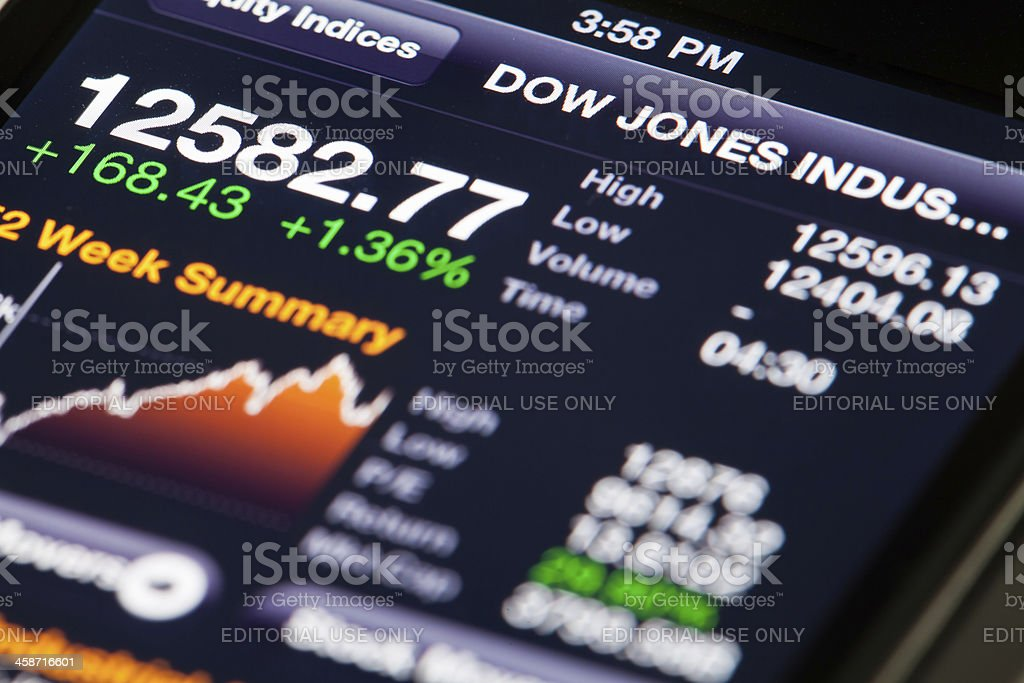 Bloomberg app on iPhone 4 with market data stock photo