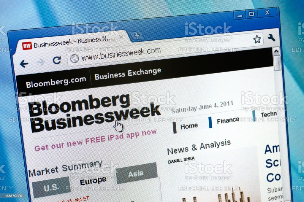 Bloomberg Businessweek on the browser royalty-free stock photo