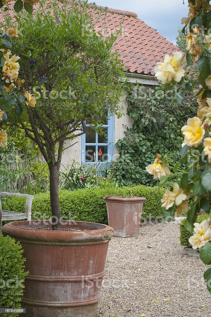Blooming English cottage garden royalty-free stock photo