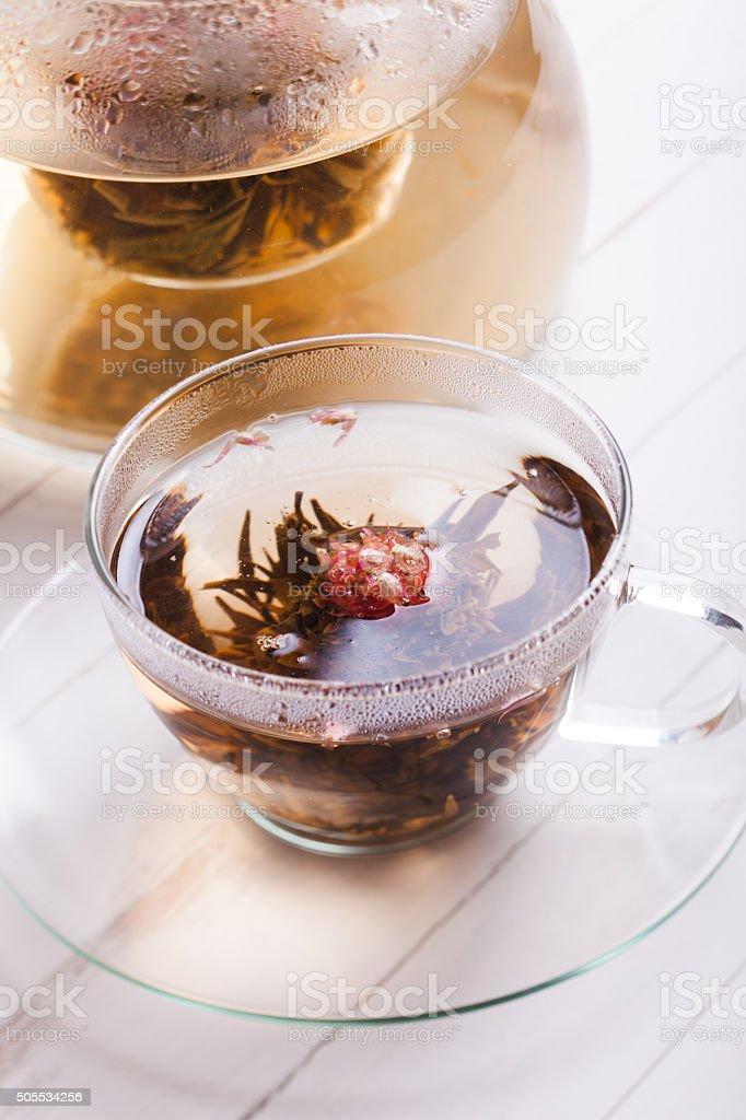 Blooming Flower Tea stock photo