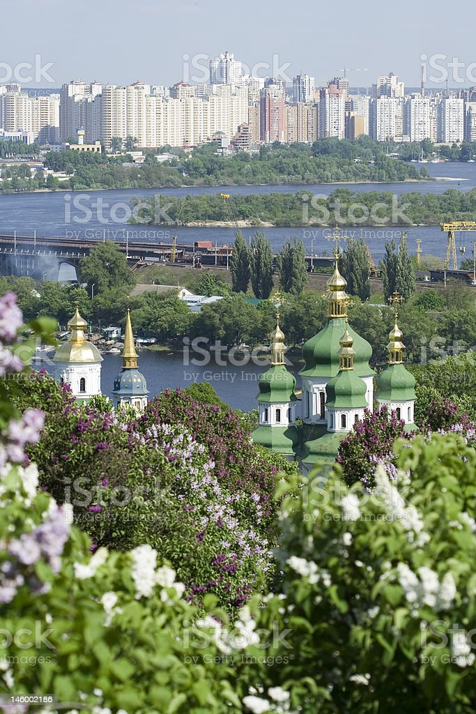 Blooming modern and ancient Kiev stock photo
