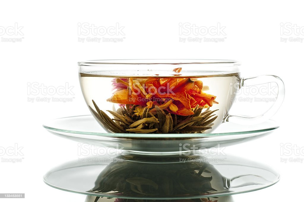 blooming tea in glass cup royalty-free stock photo