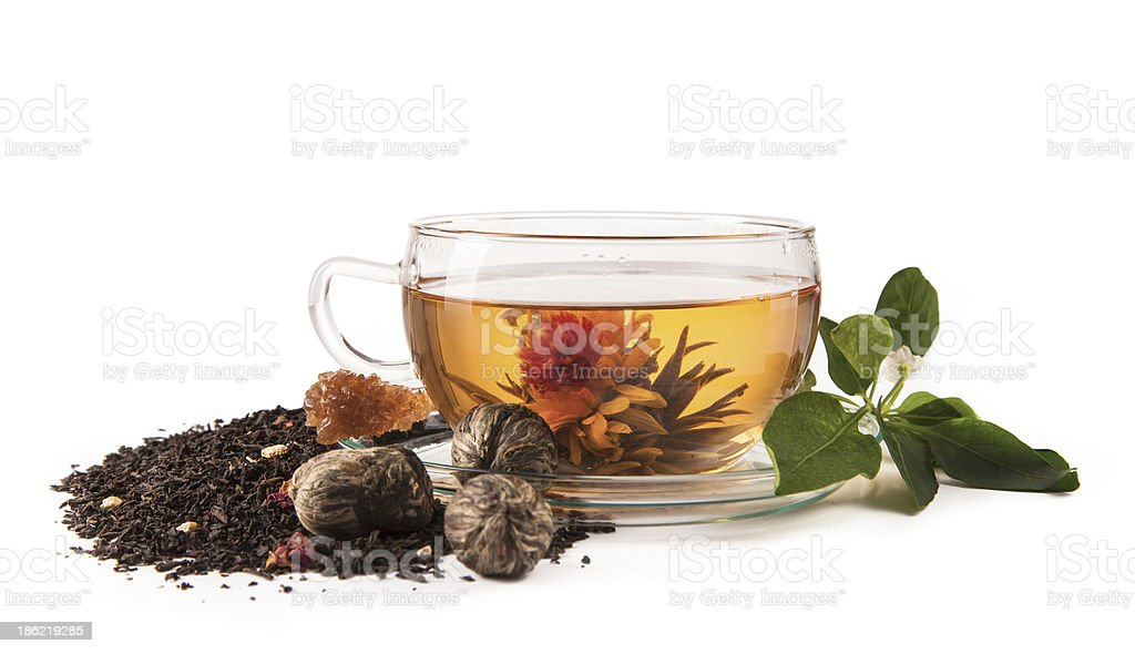 Blooming tea isolated on white background royalty-free stock photo