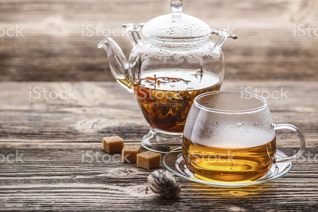 Blooming tea stock photo