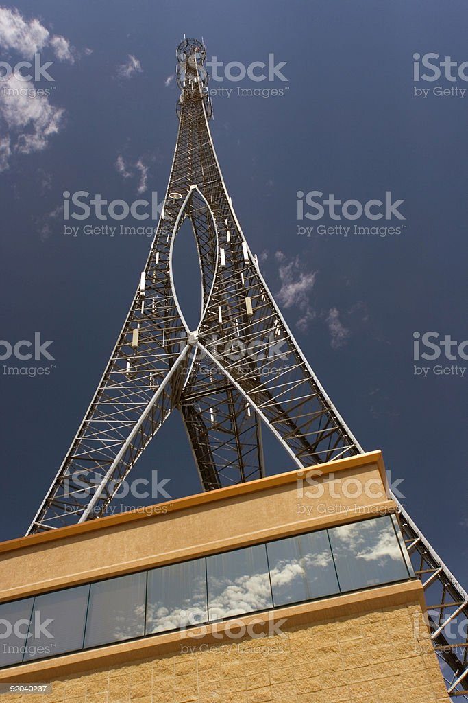 Bloomington, IL - building with a tower stock photo