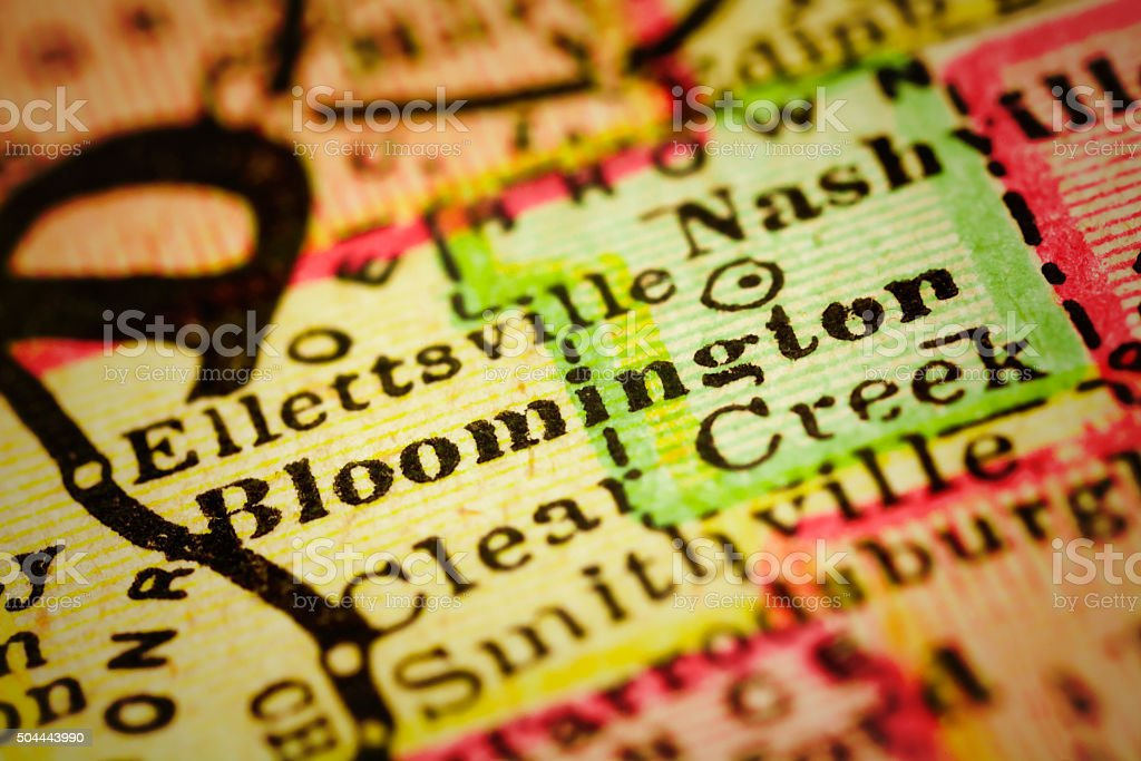 Bloomington, Indiana on an Antique map stock photo